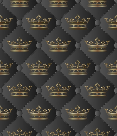 quilted fabric: black background seamless with crowns