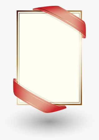 blank sheet of paper with red ribbons Stock Vector - 17417735