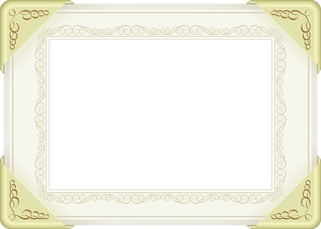 sheet of paper with gold fittings and decorative frame - transparent space insert for picture or text Vector