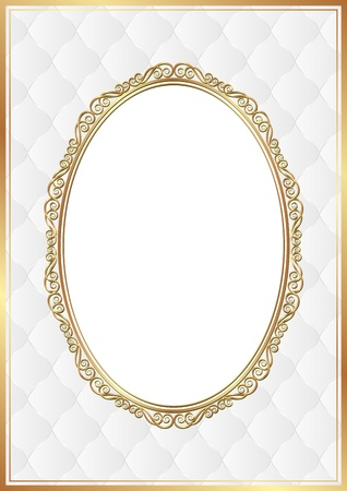 white background with gold ornaments and transparent space insert for picture Vector
