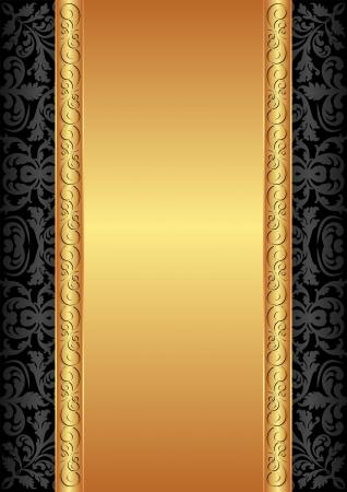 gold and black background with ornaments Vector