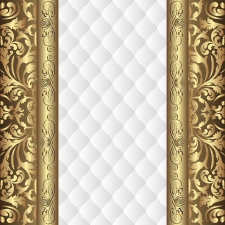 white background with gold ornaments Vectores