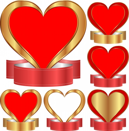 gold heart: set of isolated golden heart with ribbon
