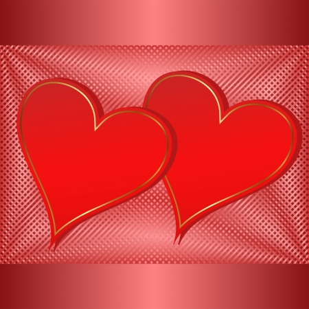 Valentines background with two hearts  Vector