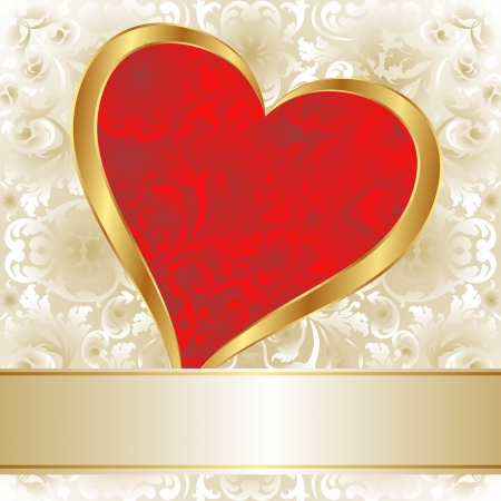 background with red and gold heart Vector