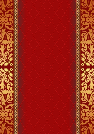 quilted fabric: decorative red background with ornaments Illustration