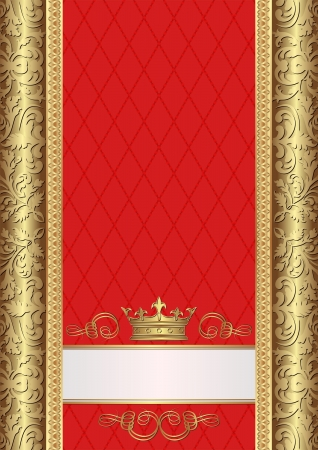 gold and red royal background with crown Illustration