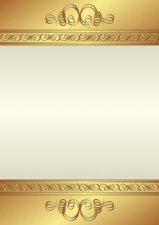 creamy: creamy background with gold ornaments Illustration