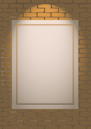 highlighted poster on brick wall for copy space Stock Vector - 17636614