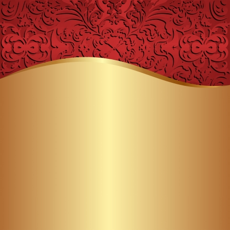 claret red: gold background with red ornaments
