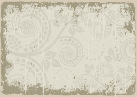 dirty background with floral ornaments Stock Vector - 17636330