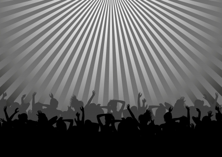 silhouette of dance party crowd Stock Vector - 17636577
