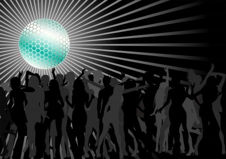 Disco Ball Over A Dance Party Crowd Stock Vector - 17636355