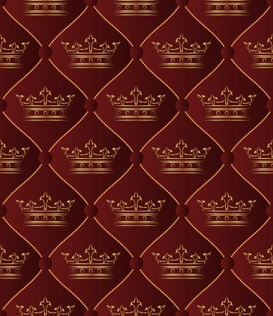 maroon background seamless with golden crowns Vector