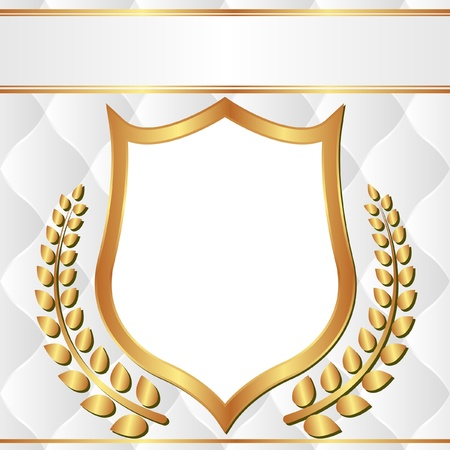 white and gold background with laurel wreath and transparent space insert shield for picture