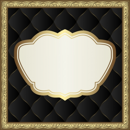 quilted fabric: black square background with golden border