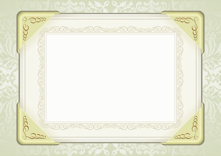 sheet of paper with gold fittings and decorative frame Vector