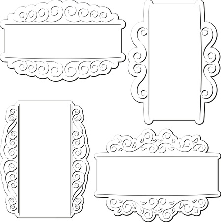 set of white isolated backgrounds with ornamentc Stock Vector - 17902303