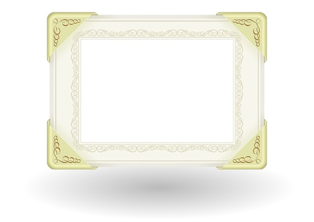 fittings: decorative sheet of paper with gold fittings and transparent space insert for picture or text
