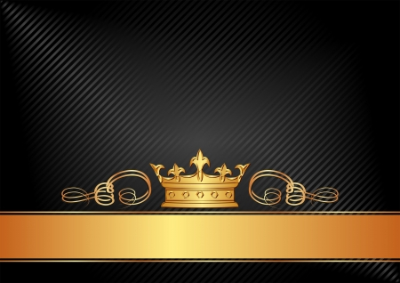 gold crown: black background with golden crown Illustration