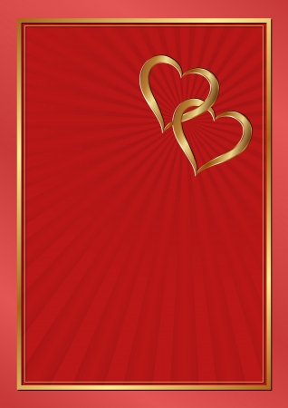 two hearts: two hearts on red background Illustration