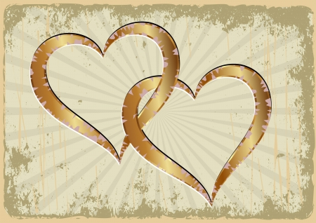 yellowed: grunge background with two golden hearts Illustration