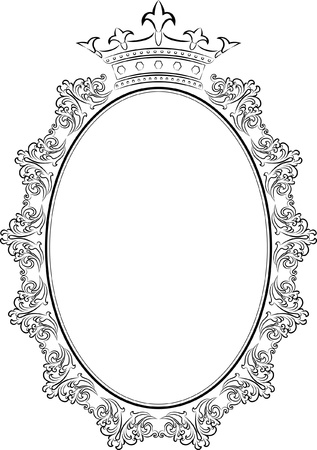 oval: silhouette of frame oval with crown Illustration