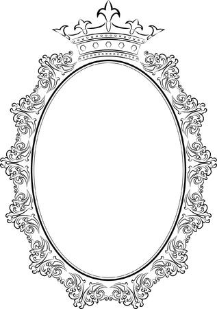 silueta de óvalo marco con la corona Ilustración de vector