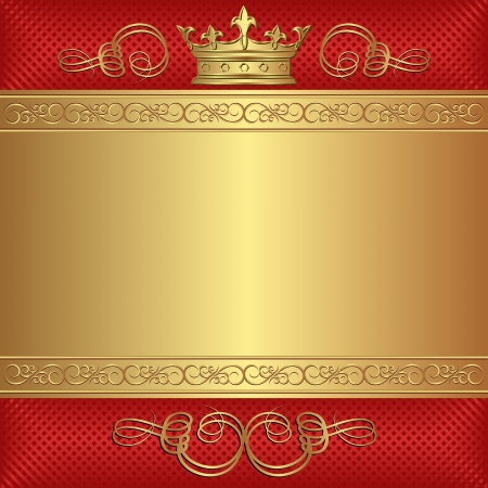 gold crown: red and gold background with crown