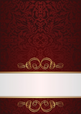 claret and white background with golden ornaments Vector
