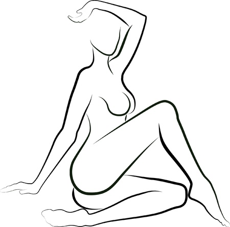 nude female: sketch of a naked woman