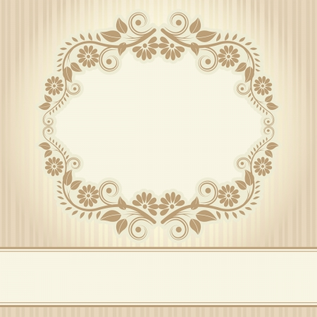beige: vintage background with floral ornaments