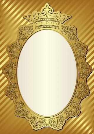 corona real: fondo de oro con el marco decorativo y la corona