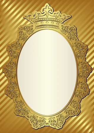 golden background with decorative frame and crown Vector