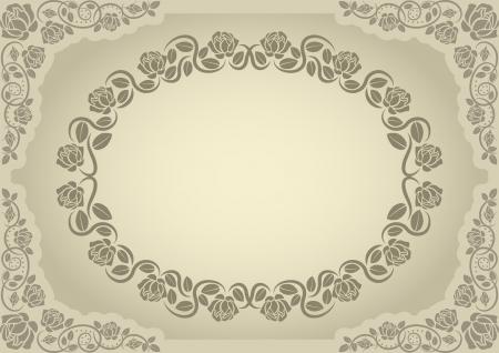 ecru: pastel background with roses border Illustration