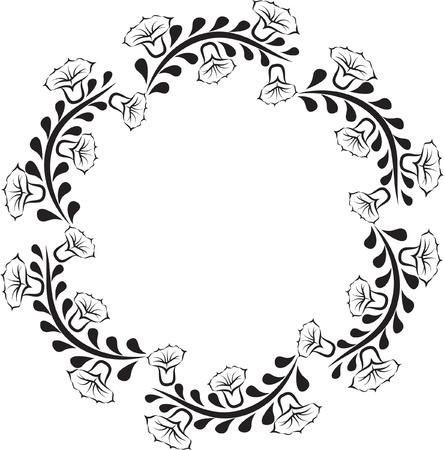 Silhouette della rotonda cornice floreale Archivio Fotografico - 18305694