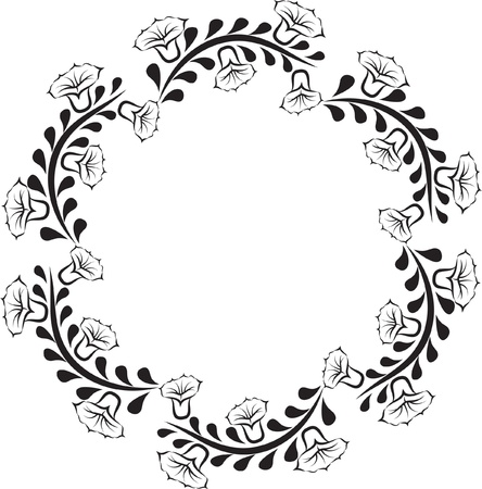 silhouette of round floral frame Ilustracja