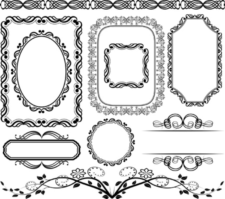 oval shape: set of frames,  borders and ornaments