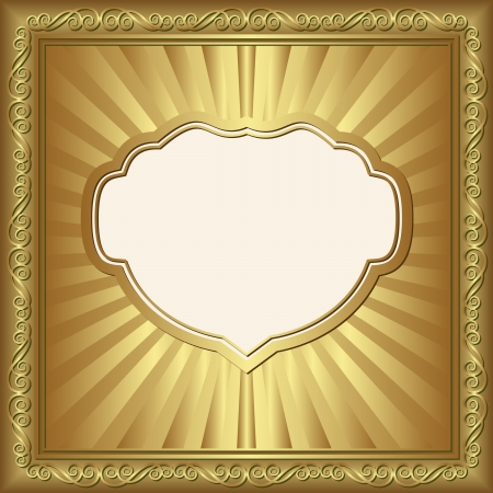 brass plate: golden background with ornaments Illustration