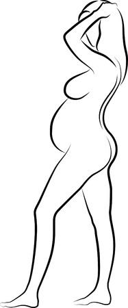 bekleyen: Hamile bir kadın kroki Çizim