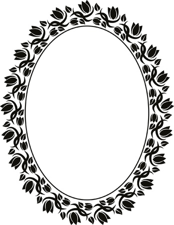 oval frame: silhouette of floral frame oval