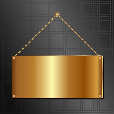 brass plate: golden hanging sign panel on black background