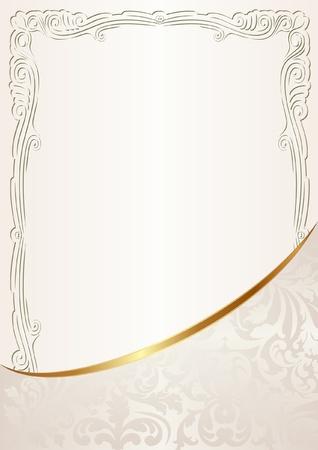 cremoso: fundo cremoso com ornamentos de ouro Ilustra��o
