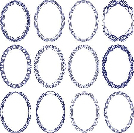 oval frame: set of decorative oval borders