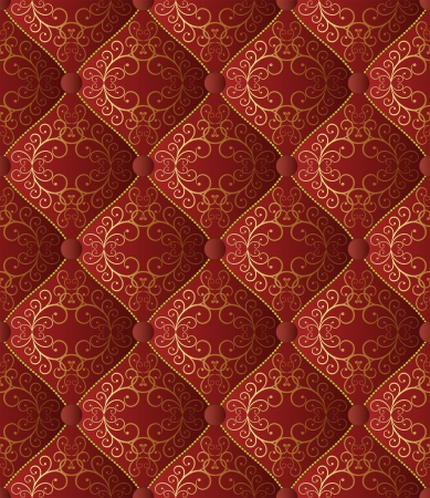 claret red: la cosecha de fondo sin fisuras con ornamentos de oro - tela acolchada Vectores