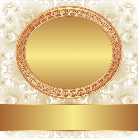 decorative background with gold frame for text Stock Vector - 18913423