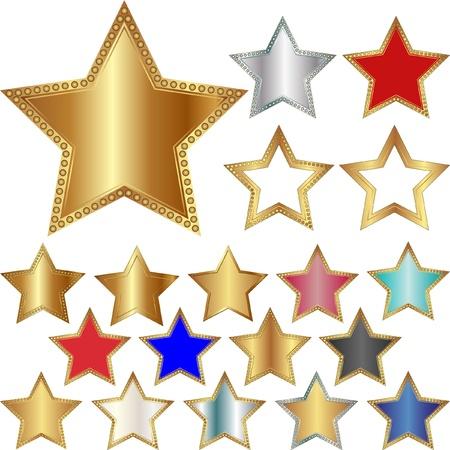estrellas cinco puntas: diferentes estrellas de cinco puntas - juego de ilustraci�n