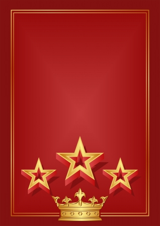 red background with crown and stars Vector