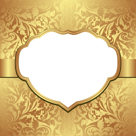 golden background with decorative frame and transparent space insert for picture or text Vector