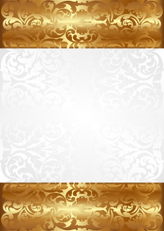 white and gold background with ornaments Иллюстрация